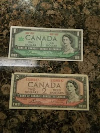 1 and 2 Canadian dollar banknotes Langley, V3A 1Z4