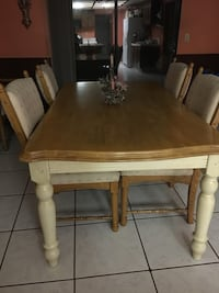 rectangular brown wooden table with six chairs dining set Perris, 92571