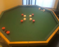 Bumper pool table with new sticks