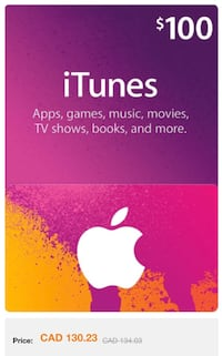 100$ iTunes gift card  Waterloo, N2L 3W6