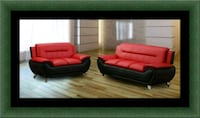 Red/ black sofa and loveseat 2pc set Laurel
