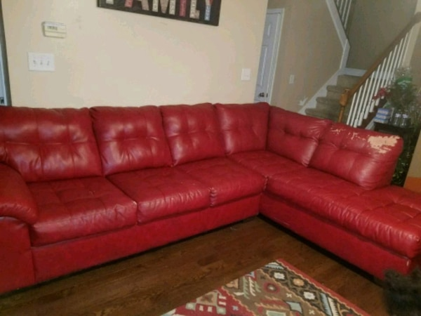 Red Leather Sectional Sofa With Ottoman
