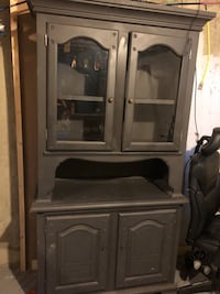 Gray wooden cabinet with hutch Sherwood Park, T8A 0Z8