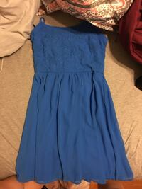 women's blue spaghetti strap dress