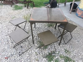 Antique Folding Picnic Table with Stools