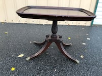 Vintage ''BRANDT'' Solid Mahogany End Table Brass Fittings - Glass Top - RARE 334 mi