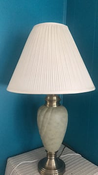silver and white table lamp with cone lamp shade Everett, 02149