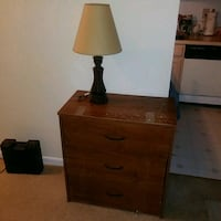 brown wooden base white shade table lamp Bladensburg, 20710