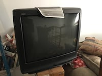 black and gray CRT TV null