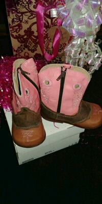 pair of pink-and-brown leather cowboy boots Houston, 77091