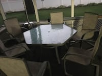 Glass table and 6 chairs patio set  Berlin, 08009