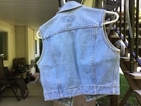 Blue denim button-up vest