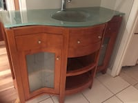 Bathroom glass sink vanity and side cupboard mint Winnipeg, R2P 0P1
