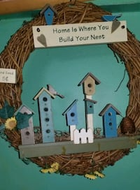 Bird house Twig Welcome Door Wreath