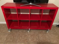 Red shelf unit on casters for easy moving McAllen, 78504
