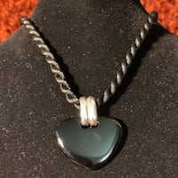 Vintage Sterling Silver & Black Onyx Pendant with Silk Cord Necklace Ashburn, 20147
