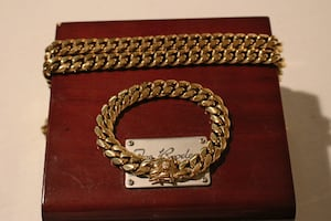 12MM CUBAN MIAMI LINK BRACELET + CHAIN 14K ELECTROPLATED GOLD WRAPPED