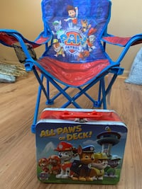 Paw patrol chair and lunch box(never used)