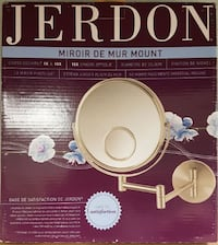 Jerdon 8-Inch Wall Mount Makeup Mirror with 10x and 15x Magnification, Nickel Finish Roblin