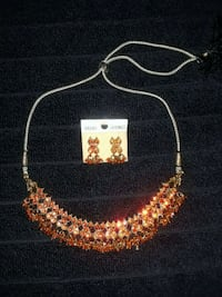 Orange necklace and earrings Brampton, L7A 1R9