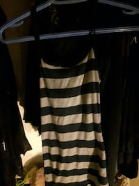 gray and black striped sleeveless top