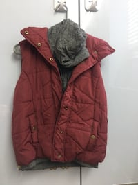 red and black zip-up bubble jacket 549 km