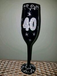 40th Birthday Black Bling Fluted Champagne Glass Clinton, 01510