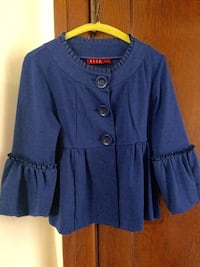 Royal blue top with statement sleeves