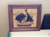 Wooden frame/map back ground with ship/beach glass on wood  Welland, L3C