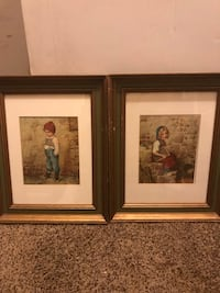 Two brown wooden framed painting boy and girl antiques Rockville, 20850
