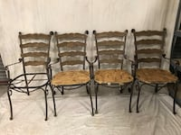 4 wrought iron and wood chairs ~ great up cycle project!