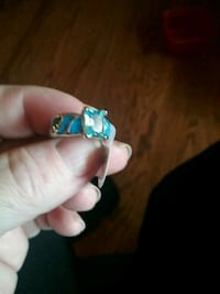 Sterling silver ring with aquamarine and fire opal Winchester, 22601