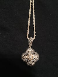 Sterling silver pendant with diamonds and genuine silver rope chain   New York, 10022