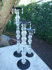 three clear stackable glass candle holders Miami, 33147