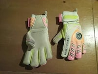 green, gray and pink sports gloves