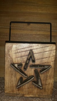 Handled Wooden Votive Holder with Star Cutouts