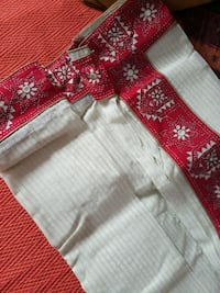 Bengal Red and white traditional embroidered saree Kolkata, 700026