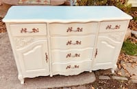 Stunning French Provincial white linen buffet server sideboard Kensington