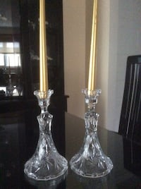 Two pinwheel crystal candle holders