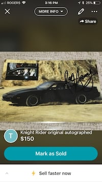 Pontiac - Firebird - 1982 signed by Hasslehoff original Guelph