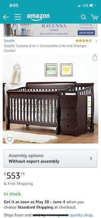 Cherry 3-in-1 convertable crib with attached drawers and changing table  Middletown, 21769