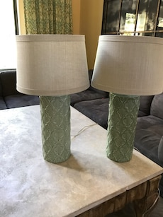 Seafoam green lamps with cream shades