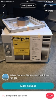 white General Electric air conditioner
