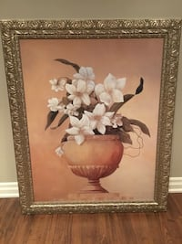Large Flower painting with gold ornate frame Toronto, M2M 4C9