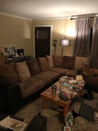 Brown suede sectional couch with throw pillows Charleston, 29407