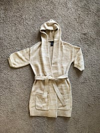 Size XS Beige hood belted tie front cardigan sweater - Like New