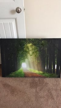 road surrounded with trees painting