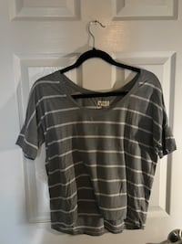 black and gray striped scoop-neck shirt Newmarket, L3Y 8H9