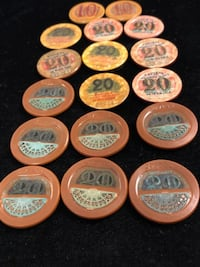 RARE CASINO CHIPS FROM MONACO ALL CHIPS ARE NUMBERED AND 17 CHIPS IN ONE PACKAGE RARE   Jacksonville
