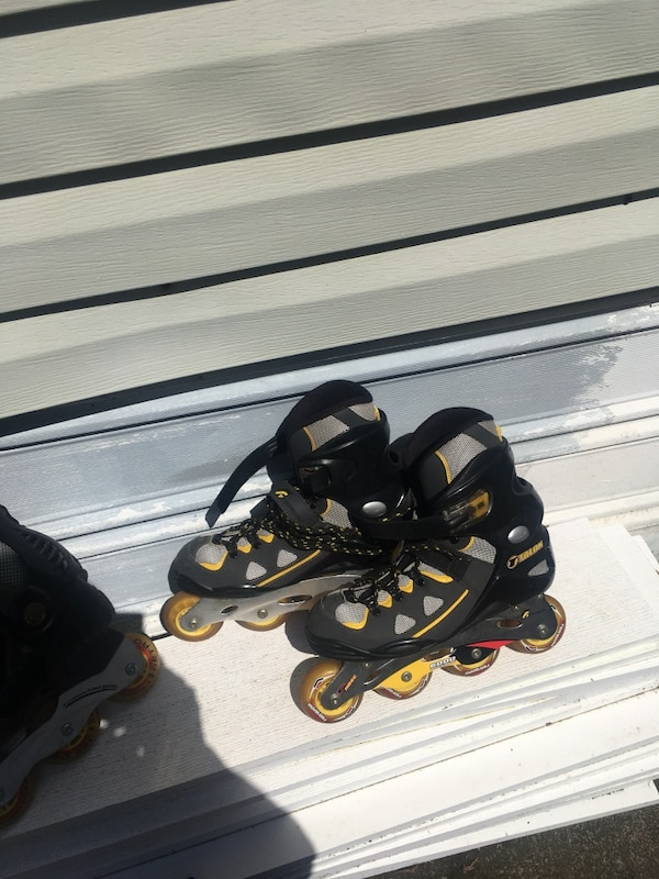 075928796ed161 Used Pair of yellow-and-black inline skates size 9 men s talon -forward 600  5 ABEC speed bearing with safety pads for sale in Renton